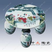 2青花手绘瓷板桌面定制 陶瓷桌面图案