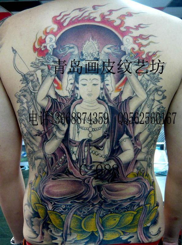 供应十二生肖守护神纹身图案满背佛纹身图片
