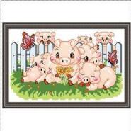 八只小猪十字绣图片