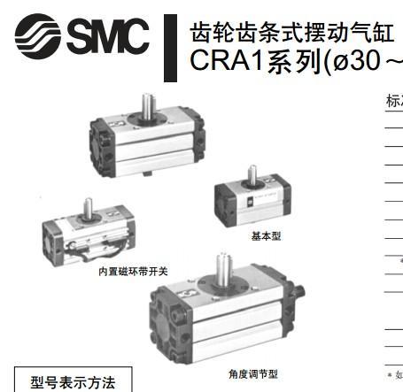 供应SMC齿轮齿条式摆动气缸CDRA1B50-90