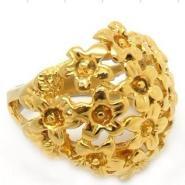 百合钛钢18K黄金戒指指环图片
