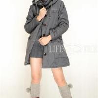 韩版女式加绒帽子短款加厚棉衣批发
