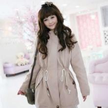 供应2011韩国秋冬新气质立领连帽温暖羊羔毛内衬中长风衣