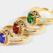 18K镀金镶宝石复古铜戒指图片