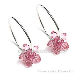 粉色花朵耳圈图片/粉色花朵耳圈样板图 (1)