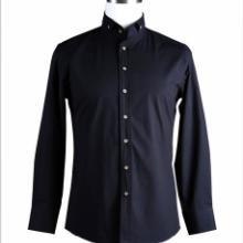 供应北京衬衫定做北京扣式领纯黑长袖礼服衬衫批发