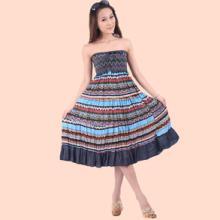 供应新款波西米亚 民族风长裙 棉麻抹胸吊带款两穿连衣裙沙滩长裙