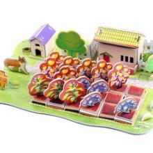 供应拼图玩具批发精美的立体拼图3d拼板纸拼图QQ农场批发
