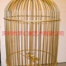 供应精致铁艺鸟笼摆件不锈钢鸟笼挂件金属鸟笼雕塑图片