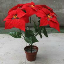 供应批发高档仿真花一品红小盆栽圣诞花气氛布置用品批发