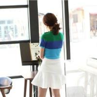 女装韩版条纹针织衫印花短袖女上衣