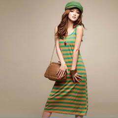 波西米亚彩色条纹长款背心裙露背系图片