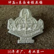公司LOGO胸针/银色立体徽章图片