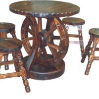 供应车轮圆桌短圆木吧凳