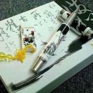 西安会议精美礼品青花陶瓷笔套装图片