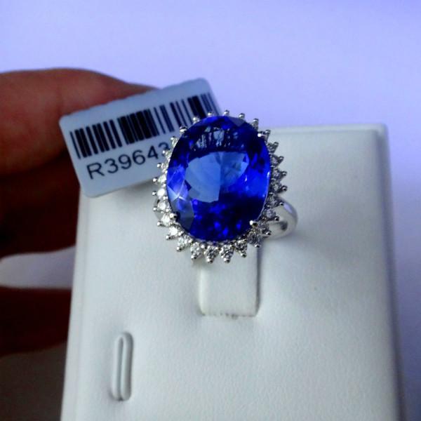 供应美丽坦桑蓝宝石镶嵌戴安娜王妃戒指 吊坠