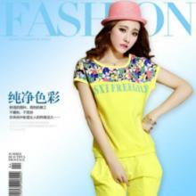 韩版圆领短袖女士七分裤运动套装三色四码面料透气性强耐磨性好