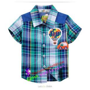 2014春款童衬衫中小新款格子衬衣图片
