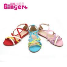 Ginger2014原单春夏新款糖果撞色交叉带罗马复古平底公主童鞋批发