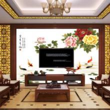 供应华玉堂瓷砖背景墙1129富贵有余古典中式电视瓷砖背景墙效果图