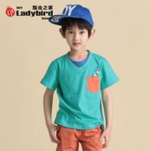 供应2014最优惠的男童纯棉短袖T恤童装大童青少年短袖批发