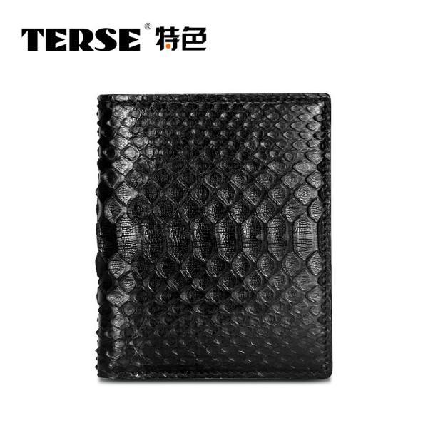 供应TERSE新款钱夹商务男士企身包 蛇皮真皮钱包 男钱包竖款