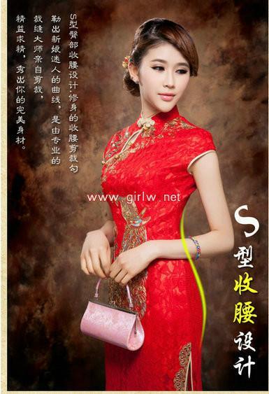 供应红色长款夏修身新娘旗袍新娘红色长款夏修身新娘旗袍