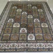 中式鸟语花香真丝手工编织打结地毯图片