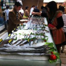 供应江苏超市海鲜展示台定做冰台厂家直销海鲜市场冰柜批发