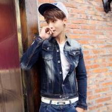 供应潮新示韩版个性修身牛仔夹克外套男