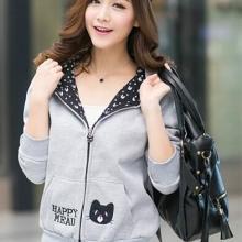 大码女装韩版学生宽松加绒卫衣开衫连帽女式外套