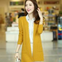 新款韩版女装中长款小方格毛衣长袖修身针织衫女式开衫批发