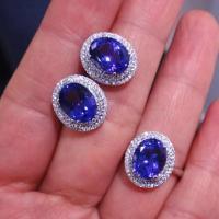 供应精工镶嵌双圈钻天然坦桑石戒指耳钉 坦桑石哪里有卖