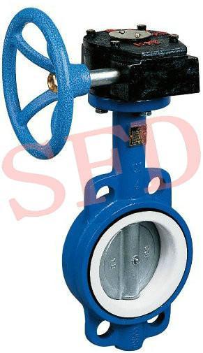 供应d371f4-10蜗轮对夹衬氟蝶阀图片