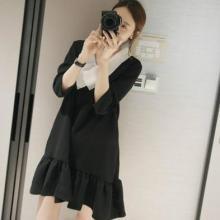 供应韩国女装名媛范甜美黑色连衣裙