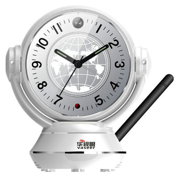 供应云台视频监控台钟座钟电子闹钟WIFI360度无线远程网络摄像头