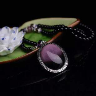 萬福源水晶饰品鹅蛋型紫水晶锁骨链图片