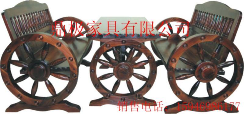 供应园艺桌椅套件/双人车轮椅桌椅套件/防腐木碳化杉木桌椅套件