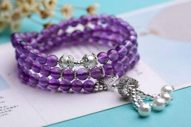 供应珠海天然紫水晶多层手链