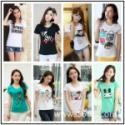 供应韩版印花T恤厂家直销爆款夏装纯棉T恤、男女装拼色T恤、连衣裙