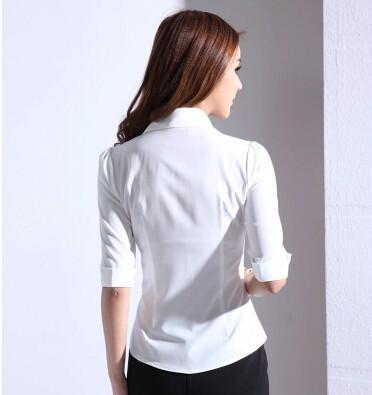 女式中袖衬衫_供应职业中袖衬衫大码女式衬衫荷叶边衬图片