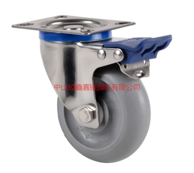 供应TF6寸带轴承不锈钢静音刹车脚轮-万向轮-TF脚轮-中山脚轮厂家图片