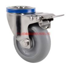 供应TF304不锈钢孔顶万向带刹车脚轮-孔顶穴式不锈钢静音脚轮-錏鑫嘉镒