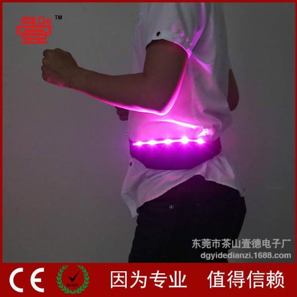 供应LED发光腰包 拉链防盗发光腰包 户外迷你闪光贴身腰带腰包