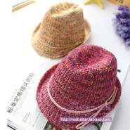 外贸尾单鹿皮绒绳编织儿童爵士帽图片
