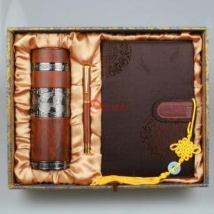 青岛红木保温杯笔套装地产礼品图片