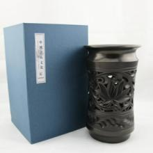 供应黑陶镂空花瓶摆件