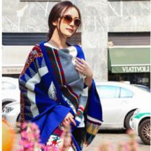 供应羊绒围巾2015杨幂米兰同款彩色几何围巾波西米亚民族风加大厚