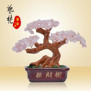 特色天然水晶树脂工艺品招财树摆件图片
